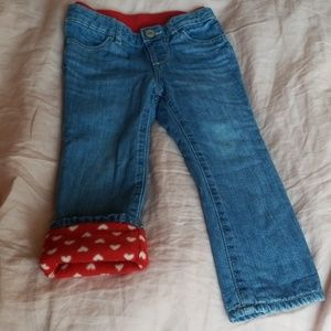 Gap Red Heart Fleece Lined Soft Stretchy Jeans 3T